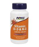 NOW FOODS Vitamin D-3 & K-2 120 Kapseln